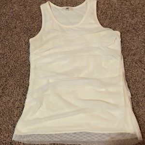 White Layered and Draped Tank Top - Size Large